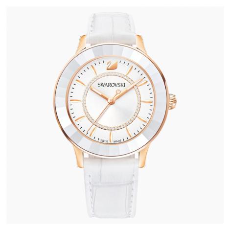 Octea Lux Watch, Leather strap, White, Rose-gold tone PVD Swarovski