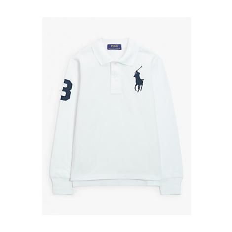 Polo Ralph Lauren Boys' Mesh Polo Long Sleeve Shirt, White