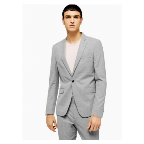 Mens Mid Grey Grey Marl Skinny Fit Single Breasted Suit Blazer With Notch Lapels, Mid Grey Topman