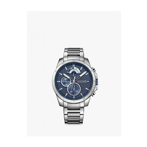 Tommy Hilfiger 1791348 Men's Chronograph Bracelet Strap Watch, Silver/Blue
