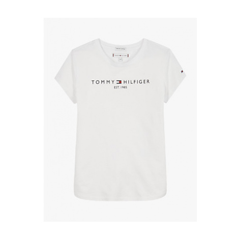 Tommy Hilfiger Girls' Essential Logo T-Shirt, White