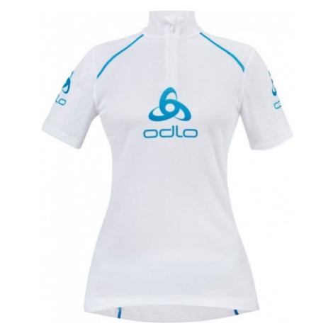 Odlo STAND-UP COLLAR S/S 1/2 ZIP ORIGINALS LIGHT LOGOLINE white - Women's functional T-shirt