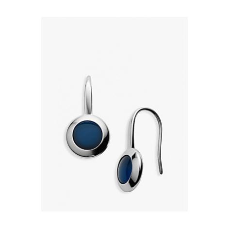 Skagen Round Glass Drop Earrings, Silver/Blue SKJ1195040