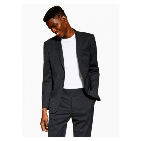 Mens Navy Slim Fit Premium Pinstripe Single Breasted Suit Blazer With Notch Lapels, Navy Topman