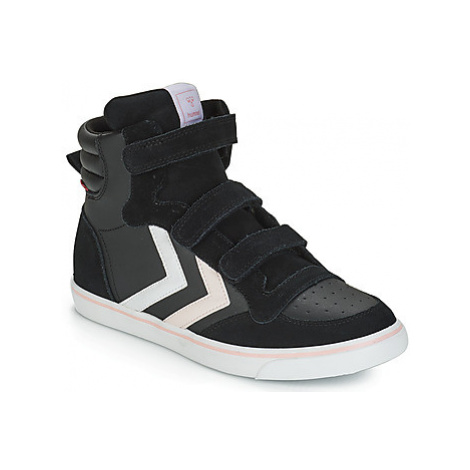 Hummel STADIL LEATHER JR girls's Children's Shoes (High-top Trainers) in Black