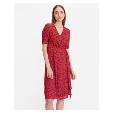 Tommy Hilfiger Floral Crepe Wrap Dress Red