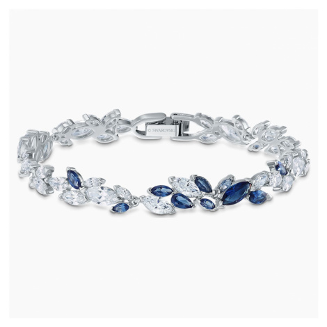 Louison Bracelet, Blue, Rhodium plated Swarovski