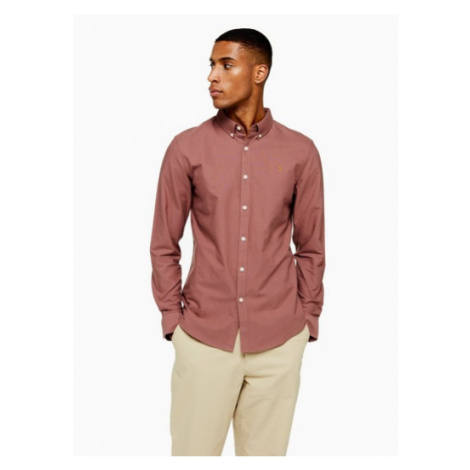 Mens Purple Farah Washed Burgundy Brewer Slim Shirt*, Purple