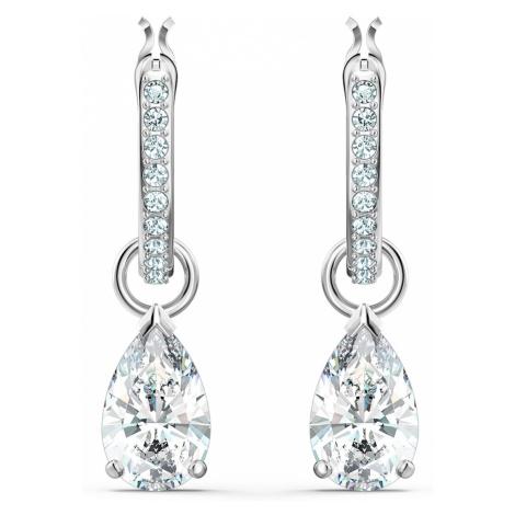 Attract Pear Mini Hoop Pierced Earrings, White, Rhodium plated Swarovski