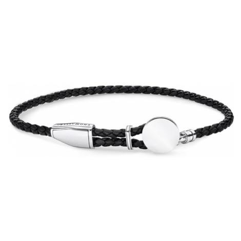 THOMAS SABO Rebel Silver Leather Strap Disc Bracelet