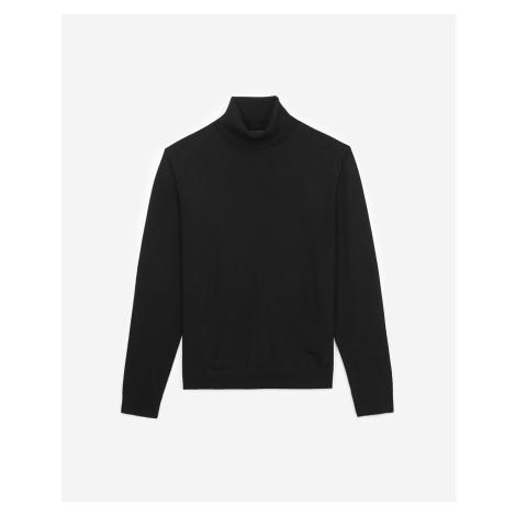 The Kooples - Slim black wool turtleneck sweater w/leather - MEN
