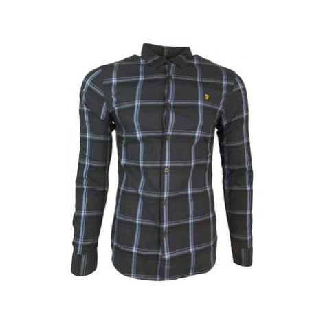 Farah Steen Check LS Slim men's Long sleeved Shirt in Blue