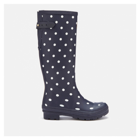 Joules Women's Welly Print Back Adjustable Tall Wellies - French Navy Spot - UK Joules Clothing