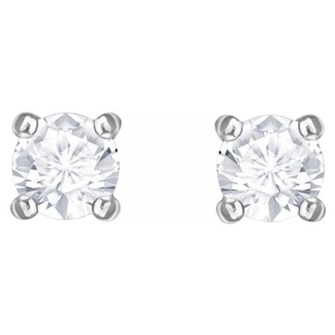Attract Round Pierced Earrings, White, Rhodium plated Swarovski