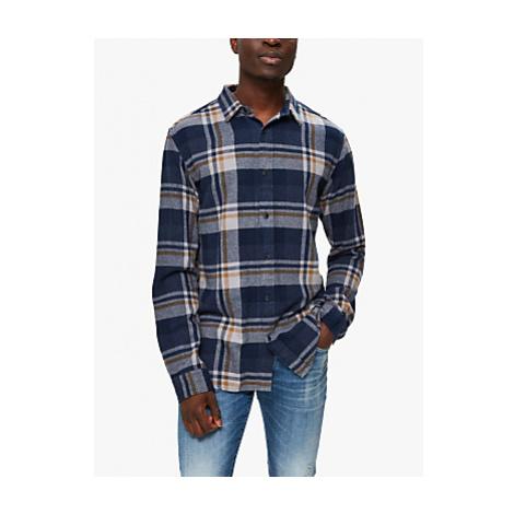 SELECTED HOMME Regunar Long Sleeved Large Check Shirt, Burro