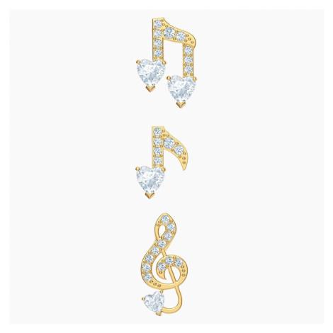 Pleasant Pierced Earrings set, White, Gold-tone plated Swarovski