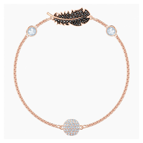 Swarovski Remix Collection Feather Strand, Black, Rose-gold tone plated