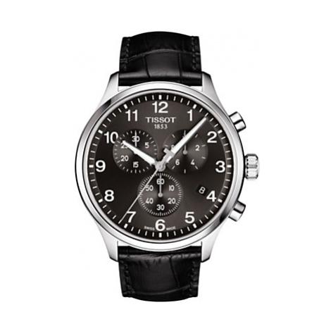 Tissot T1166171605700 Men's Classic Chronograph Date Leather Strap Watch, Black
