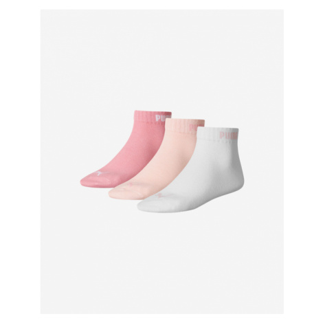Puma Quarter-V Set of 3 pairs of socks Pink White Beige