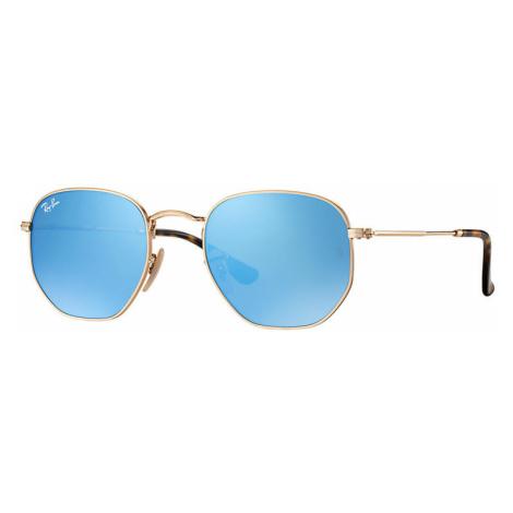 Ray-Ban Hexagonal flat lenses Unisex Sunglasses Lenses: Blue, Frame: Gold - RB3548N 001/9O 54-21