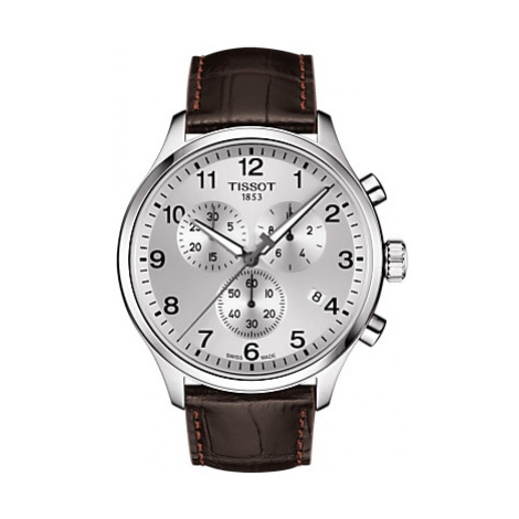 Tissot T1166171603700 Men's Chrono XL Classic Chronograph Date Leather Strap Watch, Brown/Silver