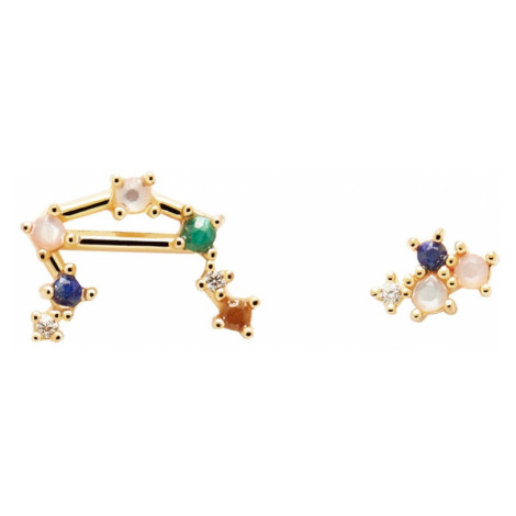 P D PAOLA Gold Plated Libra Constellation Earrings