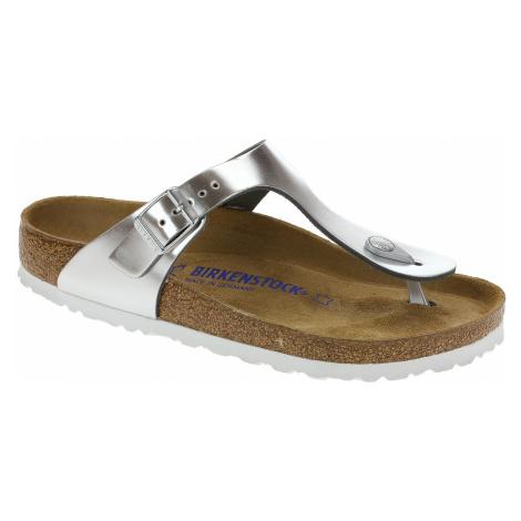 flip flops Birkenstock Gizeh Natural Leather - Metallic Silver - women´s