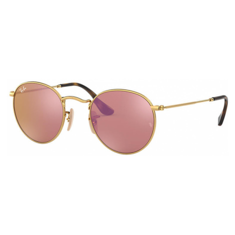 Ray-Ban Round flat lenses Unisex Sunglasses Lenses: Pink, Frame: Gold - RB3447N 001/Z2 47-21