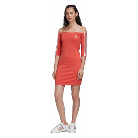 dress adidas Originals Off Shoulder Dress - Trace Scarlet - women´s