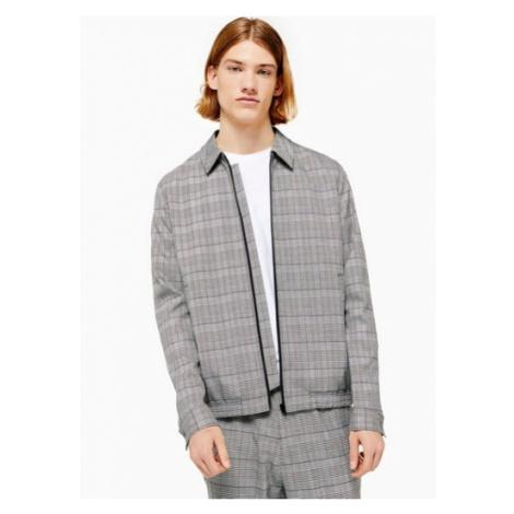 Mens Grey Check Smart Coach Jacket, Grey Topman