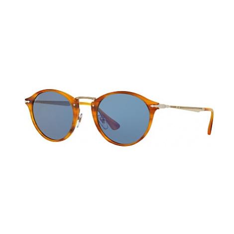 Persol PO3166S Calligrapher Edition Oval Sunglasses, Havana/Blue