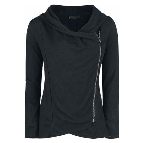 Forplay - Asymmetric Slub Yarn Zipper - Girls' cardigan - black