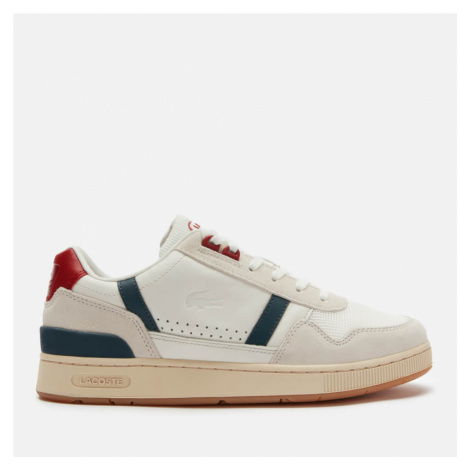 Lacoste Men's T-Clip 120 Leather/Suede Chunky Trainers - White/Navy/Red - UK