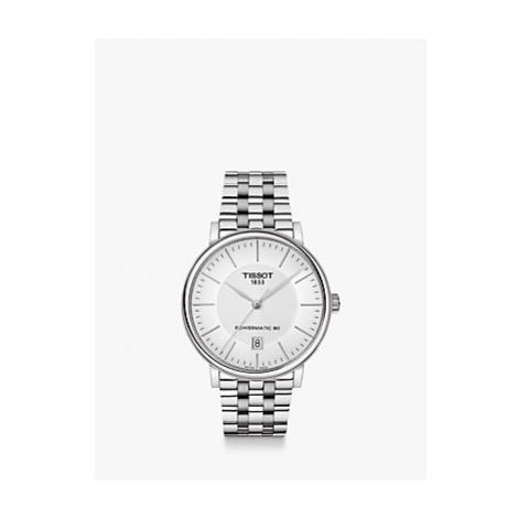 Tissot T1224071103100 Men's Carson Powermatic 80 Date Bracelet Strap Watch, Silver/White