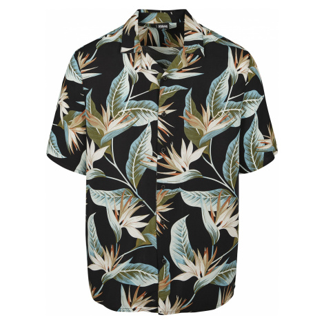 Urban Classics - Blossoms Resort Shirt - Workershirt - black-green