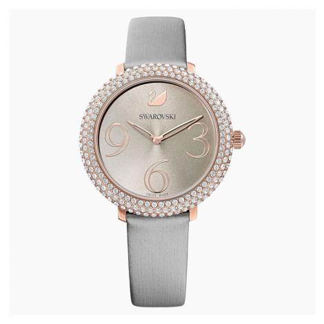 Crystal Frost Watch, Leather strap, Grey, Rose-gold tone PVD Swarovski