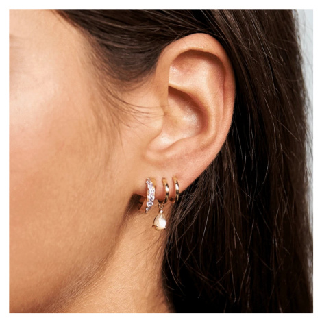 P D PAOLA Gold Plated Lumiere Hoop Earrings