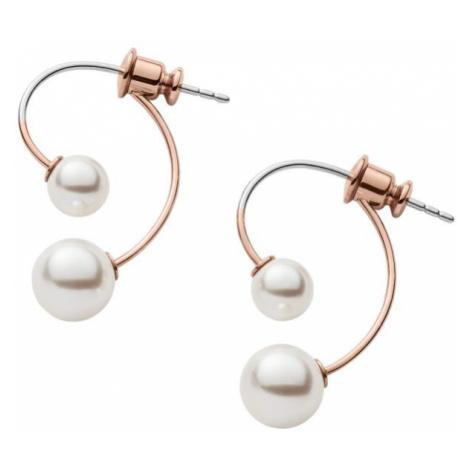 Ladies Skagen Two-Tone Steel and Rose Plate Agnethe Earrings