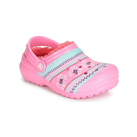 Crocs CLASSIC PRINTED LINED CLOG K girls's Children's Clogs (Shoes) in Pink