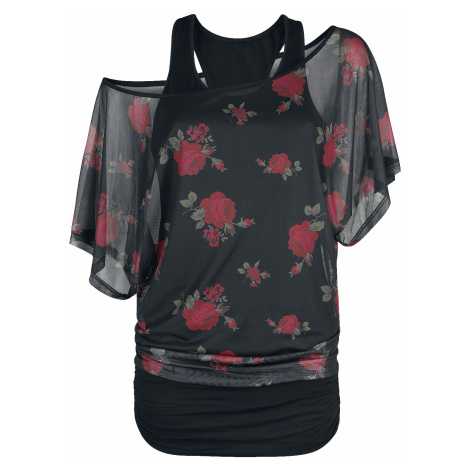 Forplay - 2 in 1 Mesh Roses Shirt - Girls shirt - black-red