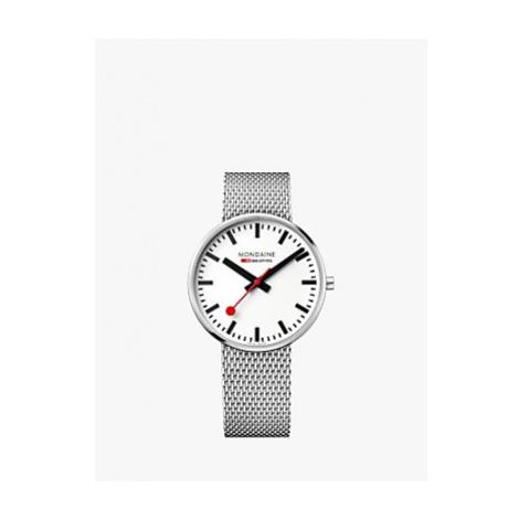 Mondaine MSX.4211B.SM Unisex SBB Classic Mesh Bracelet Strap Watch, Silver/White