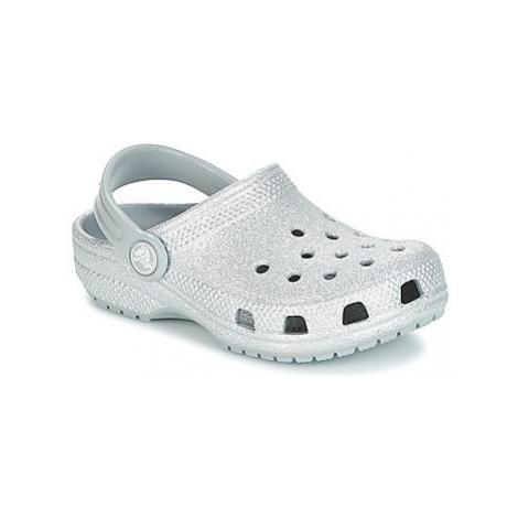 Crocs CLASSIC GLITTER CLOG K girls's Children's Clogs (Shoes) in Silver