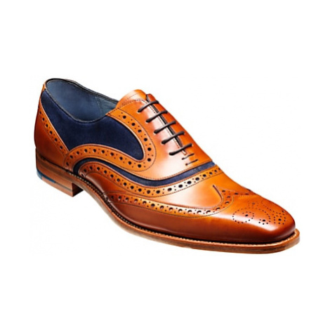 Barker McClean Goodyear Welted Leather Brogue Shoes, Cedar/Blue