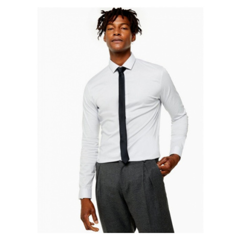 Mens Light Grey Stretch Shirt, Grey Topman