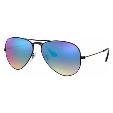 Ray Ban Unisex RB3025 AVIATOR FLASH LENSES GRADIENT - Frame color: Black, Lens color: Blue Gradi