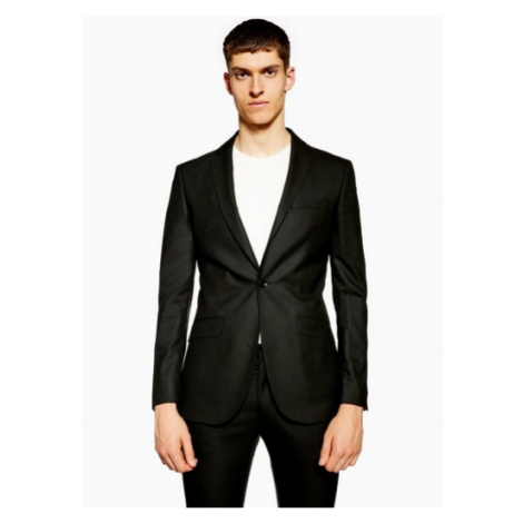 Mens Black Super Skinny Fit Single Breasted Suit Blazer With Notch Lapel, Black Topman