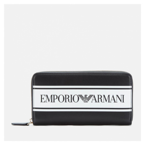 Emporio Armani Women's Large Zip Around Wallet - Black/White