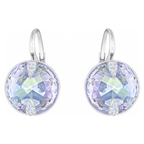 Globe Pierced Earrings, Blue, Rhodium plated Swarovski
