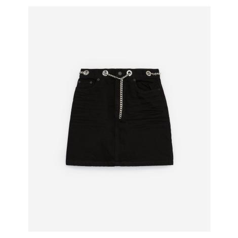 The Kooples - Black denim mini skirt with chain belt - WOMEN