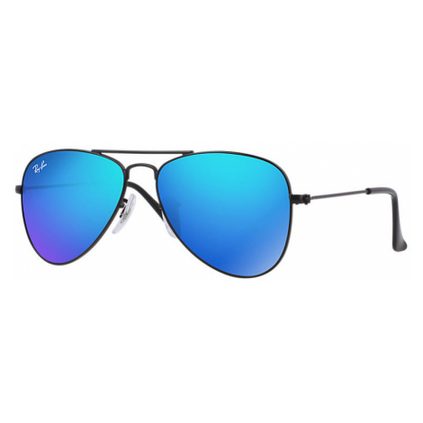 Ray Ban Aviator junior Unisex Sunglasses Lenses: Blue, Frame: Black - RJ9506S 201/55 50-13